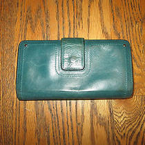 Distressed Fossil Womens Blue/green Leather Bi-Fold Wallet Photo
