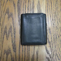 Distressed Mens Black Leather Tri-Fold Wallet Photo
