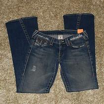 Distressed 'True Religion' 'Joey' Thick Stitch Twisted Flare 'Row Seat' Jeans 28 Photo