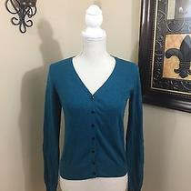 Divided by h&m Blue Cardigan Elbow Patch Button Down Size 8 Photo