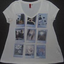 Divided Womens Fashion Trendy H & M Sz 8 v Neck Love Shots Swing Tee S Sleeve  Photo