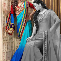 Divine Aqua Blue & Deep Blue Embroidered Saree Fd18968 Photo
