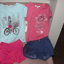 Dkny 4-Piece Lot Size 6 & 6x Bubble Balloon Shorts Shirts Blue Pink Denim Bike Photo