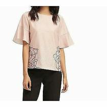 Dkny 69 Womens New 0012 Pink Floral Short Sleeve Jewel Neck Casual Top M Bb Photo