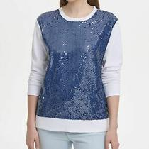 Dkny 79 Womens New 0105 White Sequined Crew Neck Casual Sweater M Bb Photo