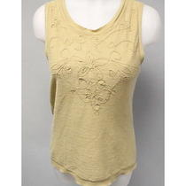 Dkny Beige Linen Sleeveless Sweater Vest Shell Size Medium Photo