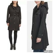 Dkny Belted Faux-Leather-Trim Hooded Trench Coat Black Size Medium New Nwt 220 Photo