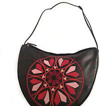 Dkny Black Genuine Leather Shoulder Bag W Colored Leather Decorated Front Photo