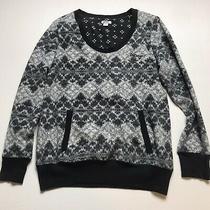 Dkny Black Gray Pullover v-Neck Fleece Sweatshirt Logo Pocket Winter Sz S A408 Photo