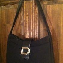 Dkny Black Handbag Shoulder Bag Microfiber D Logo - Euc Photo