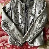 Dkny Black Label Sold Out Silver Unusual Leather Jacket/gillet Size Uk 12 Rrp Photo