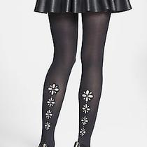 Dkny Black Laser Cut-Out Floral Tights - Msrp 32 Photo