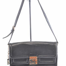 Dkny Black Leather Vintage Push Latch Flap Shoulder Hobo Purse Bag Used 265 Photo