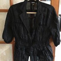 Dkny Black Linen Blouse Size 8  Photo