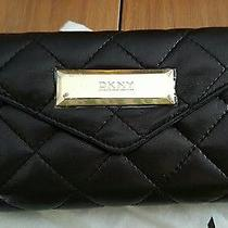 Dkny Black Quilted Soft Leather Clutch Purse Wallet Nwt & Dust Bag Photo