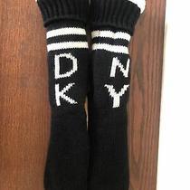Dkny Black White Cozy Warm Slipper Socks Suede Nonskid  Bottom Ladies Size M Photo