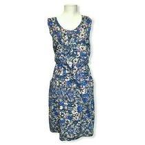 Dkny Blue Floral Plus Size 18 Ruffle Sleeveless Flowy Dress v-Neck Elastic Waist Photo