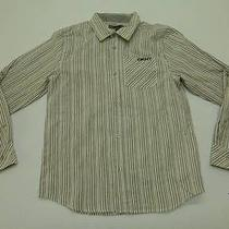 Dkny Boys Size L Grey Striped Button Front Shirt New Photo