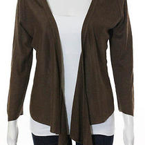 Dkny Brown Tuscan Silk Swing Long Sleeve Asymmetrical Hem Sweater Sz M  Photo