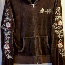 Dkny Cardigan Women's/juniors Sweater Hoodie Size Large Flowers Embroided Design Photo