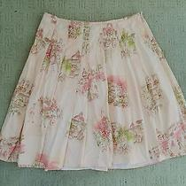 Dkny City Pink Printed Pleated Skirt Cotton Knee Length 12 Photo