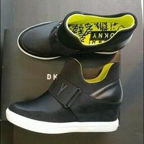 Dkny Cosmos Logo Hidden Wedge Slip on Sneakers Booties Black Ankle Boots Sz 9.5 Photo