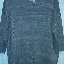 Dkny Crewneck Silver Metallic Sweater Photo