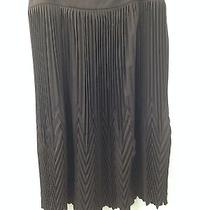 Dkny Dark Brown Accordion Mini Pleated Wool Blend Skirt 10 Photo