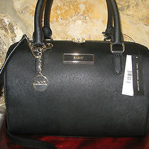 Dkny Donna Karan Black Saffiano Leather Satchel Purse Handbag Nwt 295 Dust Bag Photo