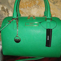 Dkny Donna Karan Green Saffiano Leather Satchel Purse Handbag Nwt 295 Dust Bag Photo