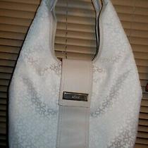 Dkny Donna Karan Ny Monogram Beige & Ivory Canvas Hobo Shoulder Bag Purse Photo