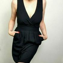 Dkny Donna Karan Size 12 Us 8 Navy Blue Pinstripe Dress Wiggle Corp Office Photo