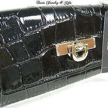 Dkny Donna Karen Checkbook Wallet Purse Bag Black Genuine Patent Leather Nwt Photo