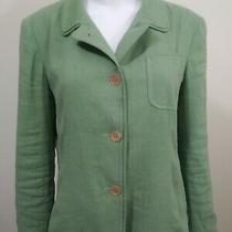 Dkny Donna Karen Ny Green Linen Button Front Blazer Jacket  Size 8 Photo
