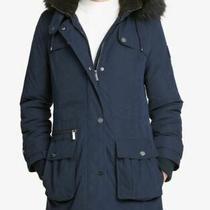 Dkny Faux-Fur-Trim Hooded Anorak Coat Blue Size Xxl Photo