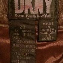 Dkny Genuine Thick Heavy Leather Motorcycle Jeans Pantsbrownwomens 8 30 X 31