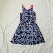 Dkny Geometric Print Blue Pink Black Girls Casual Tank Dress Size Large  Photo