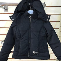 Dkny Girls Black Short Black Hooded Coat Photo