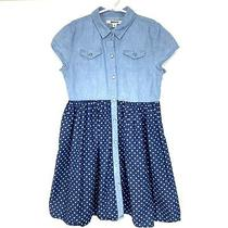Dkny Girls Polka Dot Jean Shirt Dress Size 8 Blue Short Sleeve Snap Front Pocket Photo