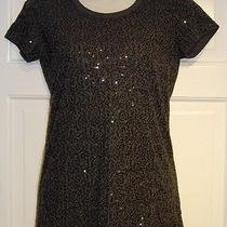 Dkny Gray Sequins Top - Small Photo