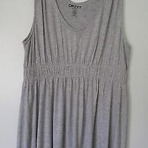Dkny Gray Sleeveless v-Neck Empire Waist Stretch Top Sizexl Photo