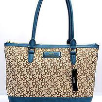 Dkny Handbag Chino Blue Tote Shoulder Bag t&c W/vintage Pu Logo Plaque New 225 Photo
