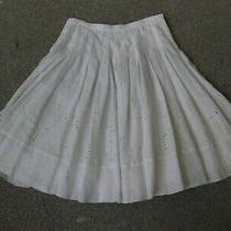 Dkny Ivory Cream Color 100% Linen Skirt Sz 8 Photo