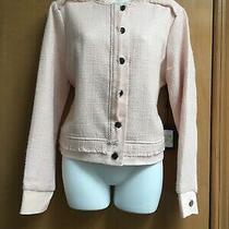 Dkny Jacket Blazer Tweed Light Pink Crew Neck Size M. Photo
