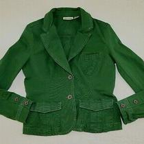 Dkny Jacket Size L Green 2-Button Logo Lightweight Cropped Collared 32
