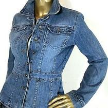 Dkny Jean Button Up Blue Denim Fitted Jean Jacket Size Medium Cotton Photo