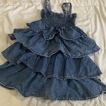 Dkny Jean Dress Girls Sz 6 Dark Wash Blue Denim Ruffle Dress Photo