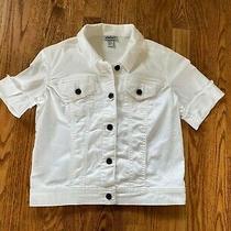 Dkny Jean Short Sleeve Denim Jacket Size Xs White  Photo