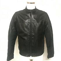 Dkny Jeans Branded Men's Black Genuine Cow Leather Full Zip Jacket Size L 464035 Photo