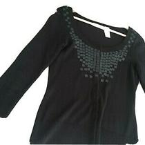 Dkny Jeans Cardigan Sweater Black Embellished Size Small  Photo